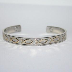 Vintage magnetic Jesus fish bracelet silver & gold
